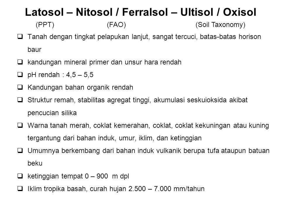 Latosol – Nitosol / Ferralsol – Ultisol / Oxisol