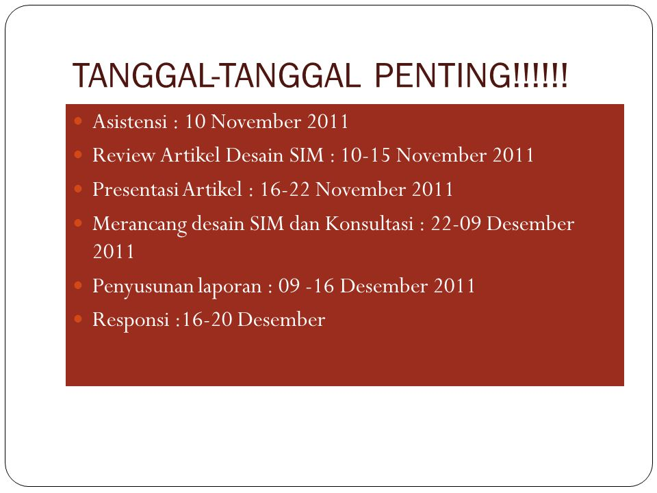 TANGGAL-TANGGAL PENTING!!!!!!