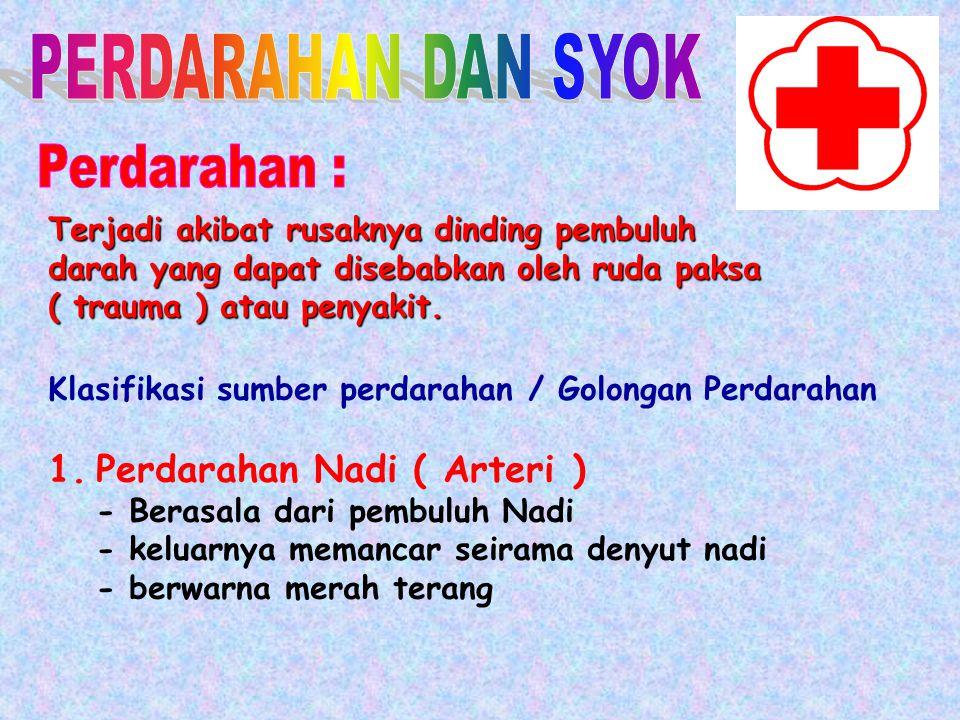 PERDARAHAN DAN SYOK Perdarahan : Perdarahan Nadi ( Arteri )