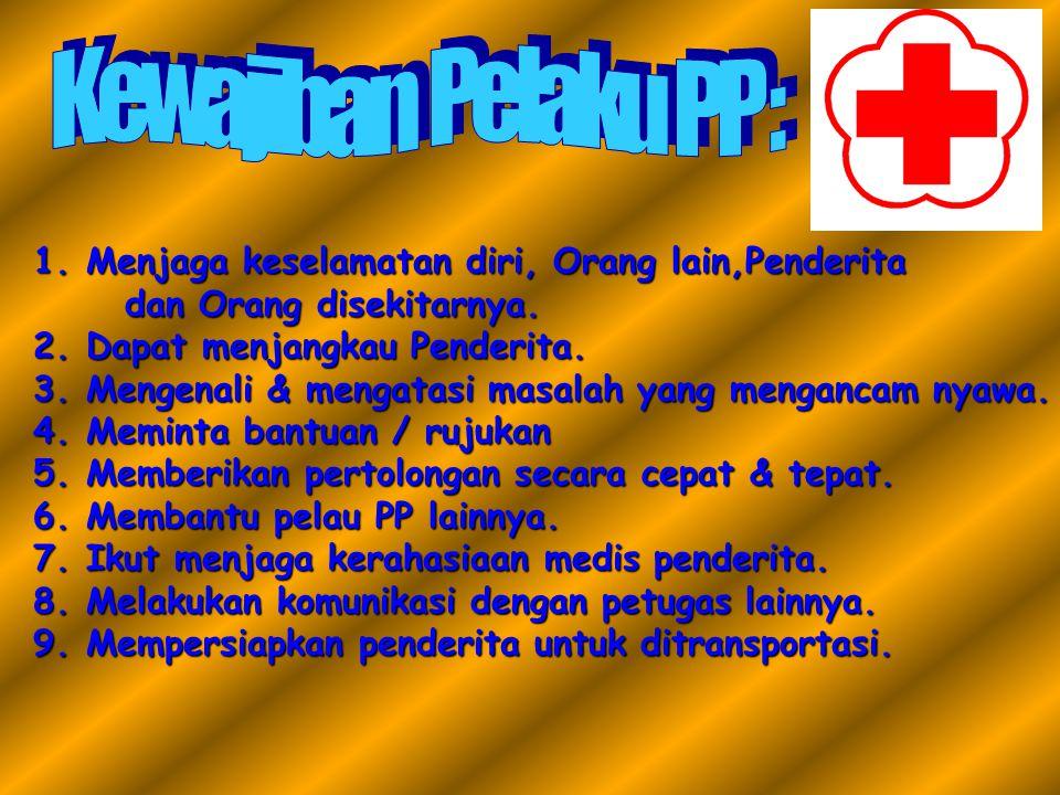 Kewajiban Pelaku PP : Menjaga keselamatan diri, Orang lain,Penderita