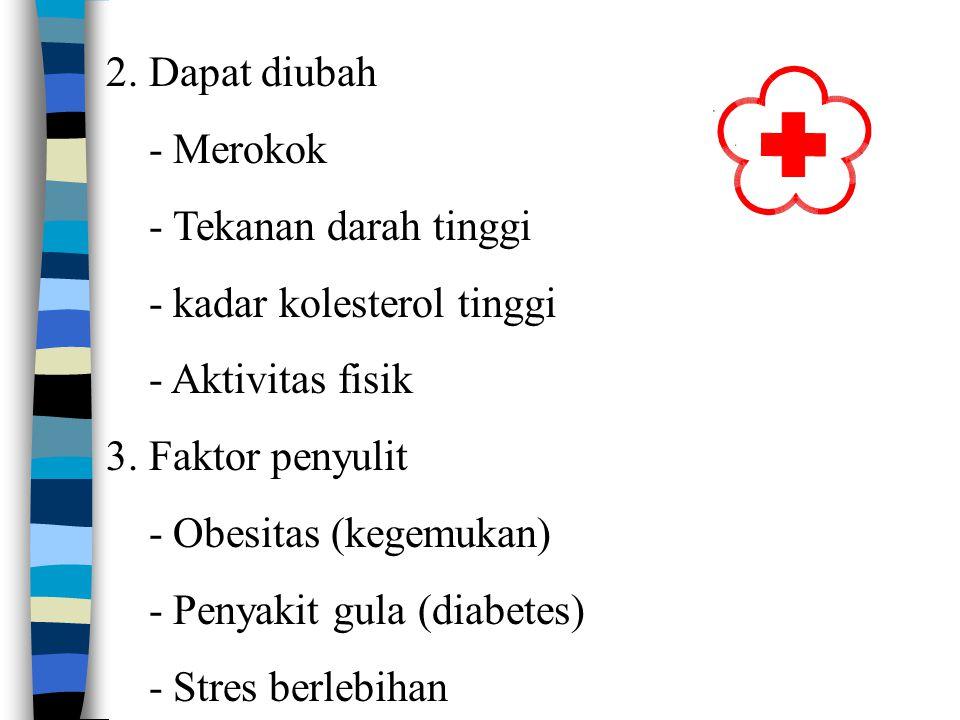 2. Dapat diubah - Merokok. - Tekanan darah tinggi. - kadar kolesterol tinggi. - Aktivitas fisik.