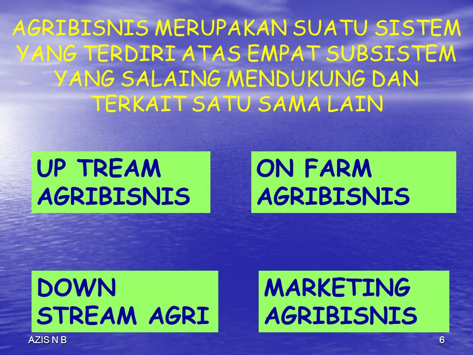 UP TREAM AGRIBISNIS ON FARM AGRIBISNIS DOWN STREAM AGRI