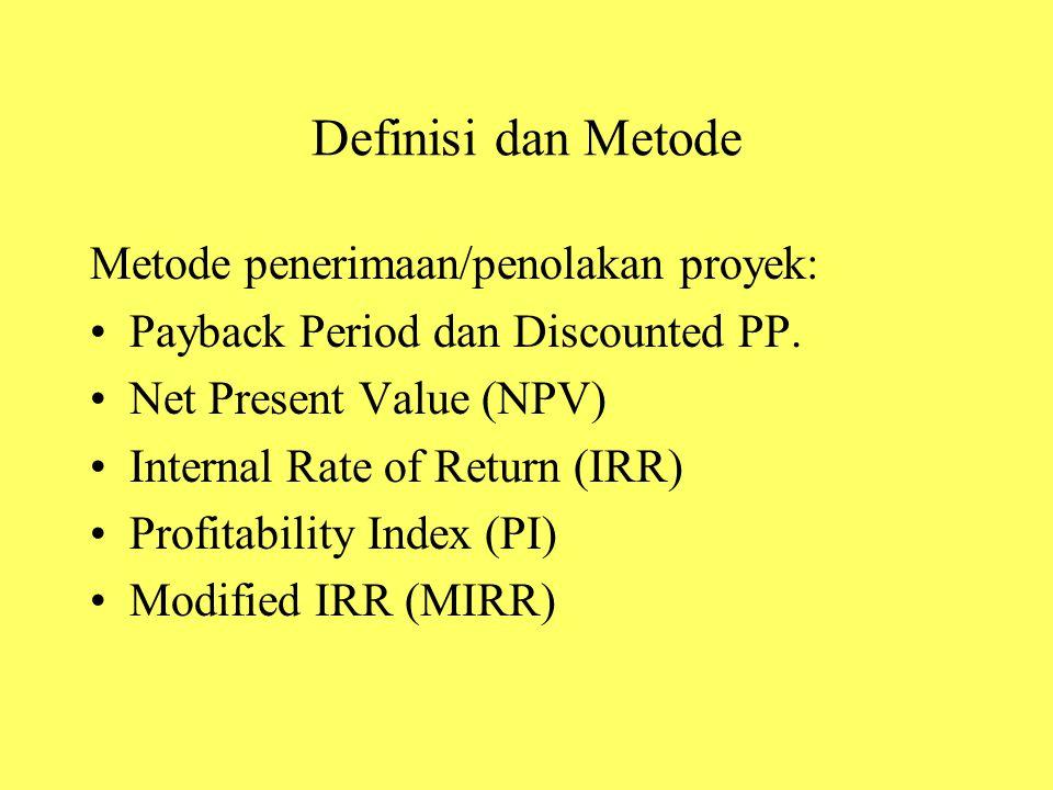 Definisi dan Metode Metode penerimaan/penolakan proyek: