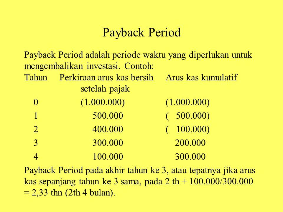 Payback Period Payback Period adalah periode waktu yang diperlukan untuk mengembalikan investasi. Contoh: