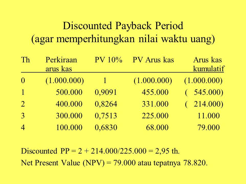 Discounted Payback Period (agar memperhitungkan nilai waktu uang)