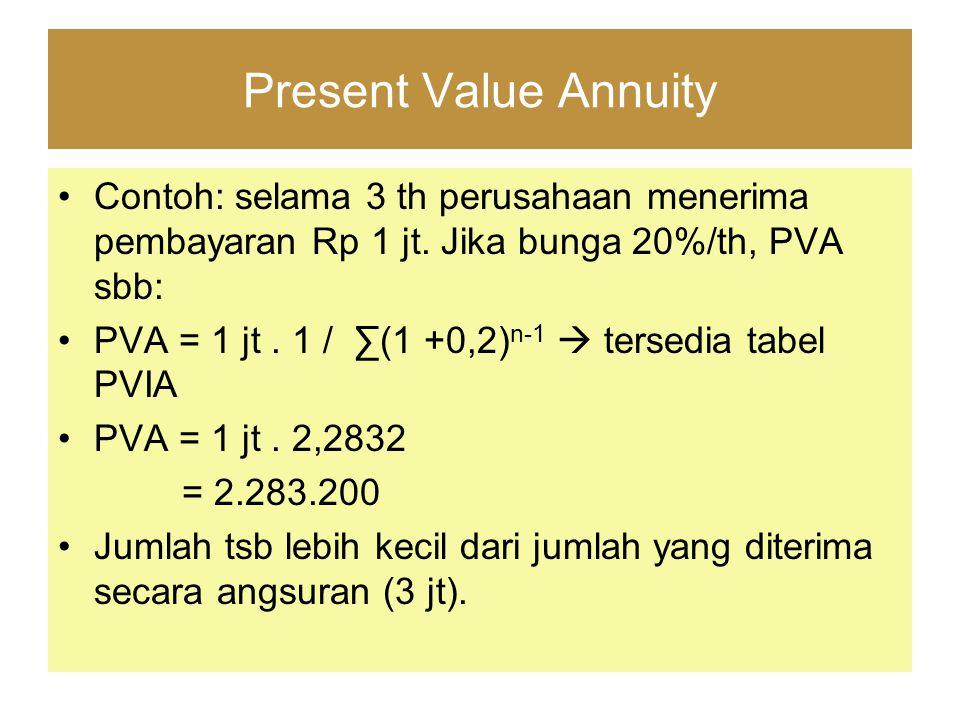 Present Value Annuity Contoh: selama 3 th perusahaan menerima pembayaran Rp 1 jt. Jika bunga 20%/th, PVA sbb: