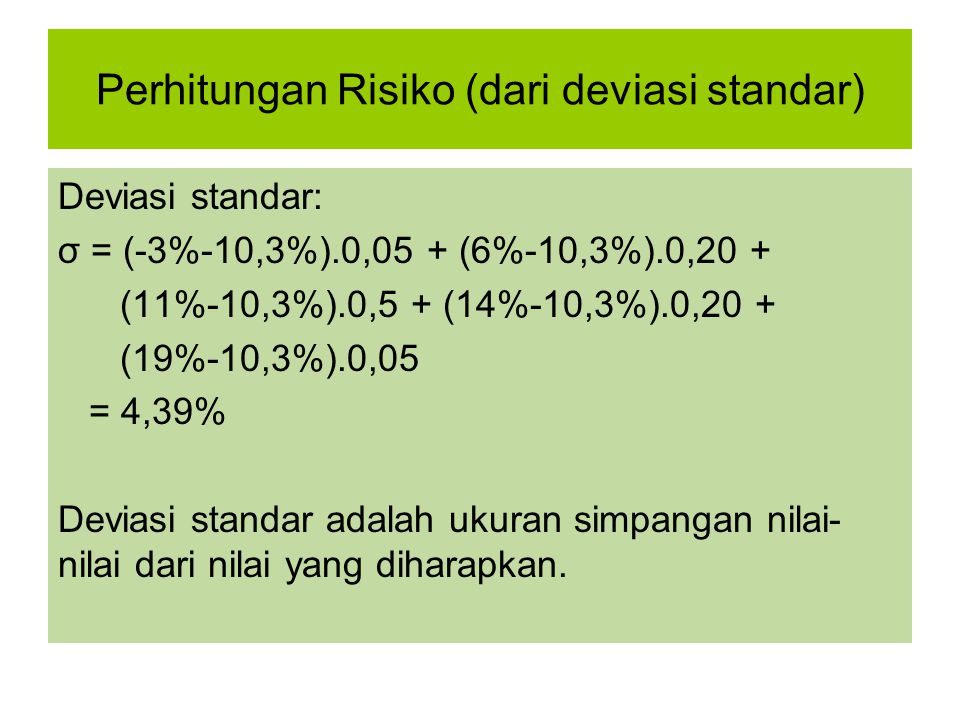 Perhitungan Risiko (dari deviasi standar)
