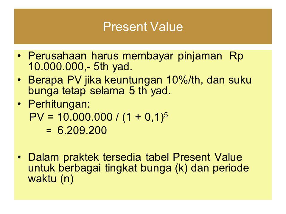 Present Value Perusahaan harus membayar pinjaman Rp 10.000.000,- 5th yad. Berapa PV jika keuntungan 10%/th, dan suku bunga tetap selama 5 th yad.