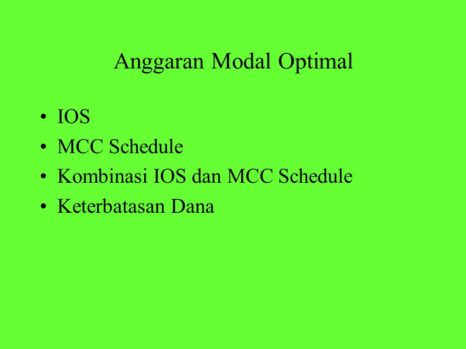 Anggaran Modal Optimal