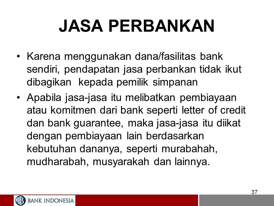 JASA PERBANKAN Karena menggunakan dana/fasilitas bank sendiri, pendapatan jasa perbankan tidak ikut dibagikan kepada pemilik simpanan.