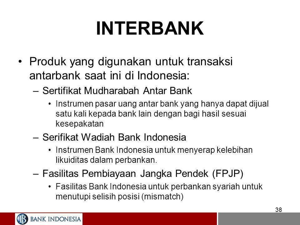 INTERBANK Produk yang digunakan untuk transaksi antarbank saat ini di Indonesia: Sertifikat Mudharabah Antar Bank.
