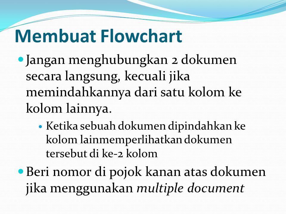 Membuat Flowchart Jangan menghubungkan 2 dokumen secara langsung, kecuali jika memindahkannya dari satu kolom ke kolom lainnya.