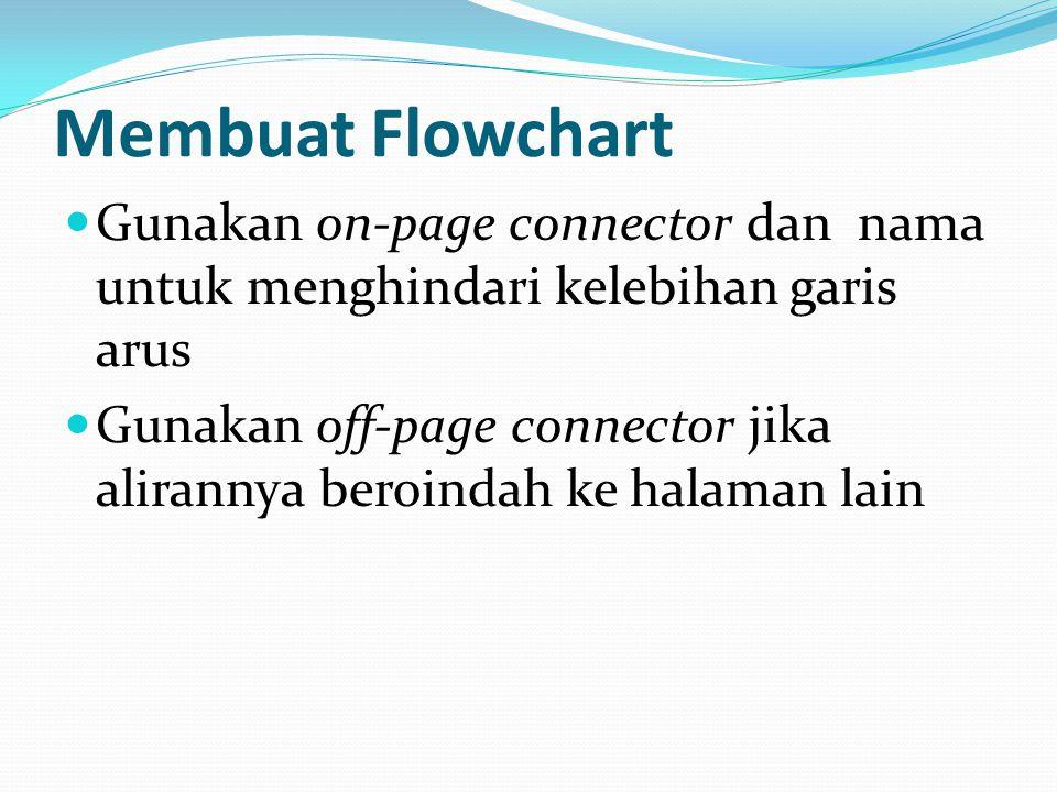 Membuat Flowchart Gunakan on-page connector dan nama untuk menghindari kelebihan garis arus.