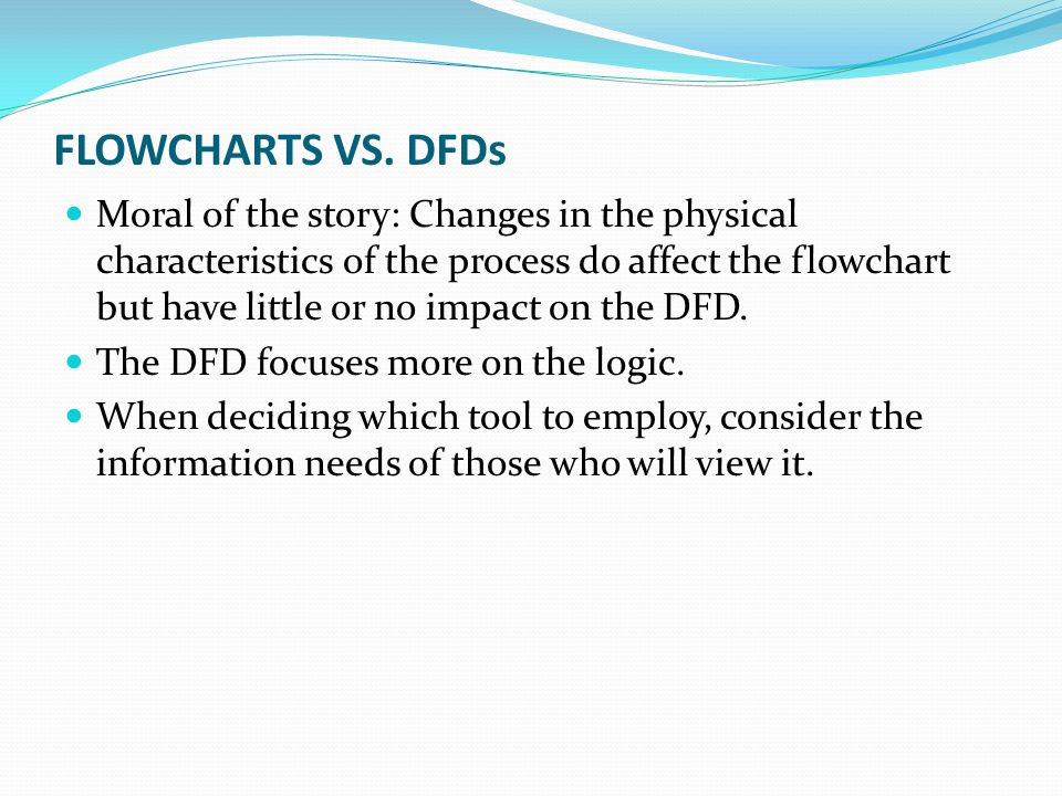 FLOWCHARTS VS. DFDs