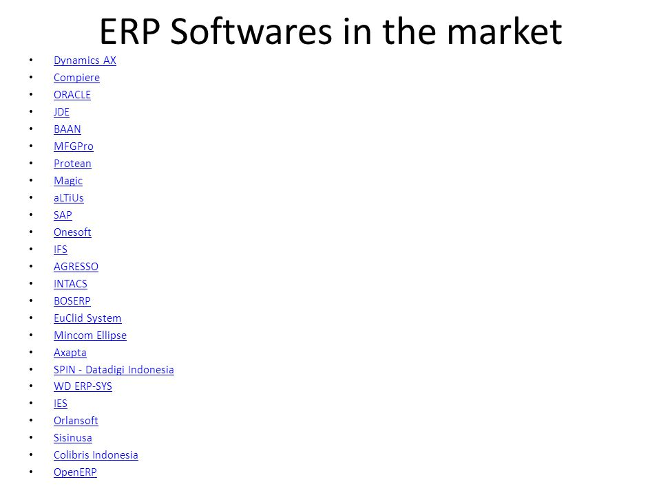 ERP Softwares in the market