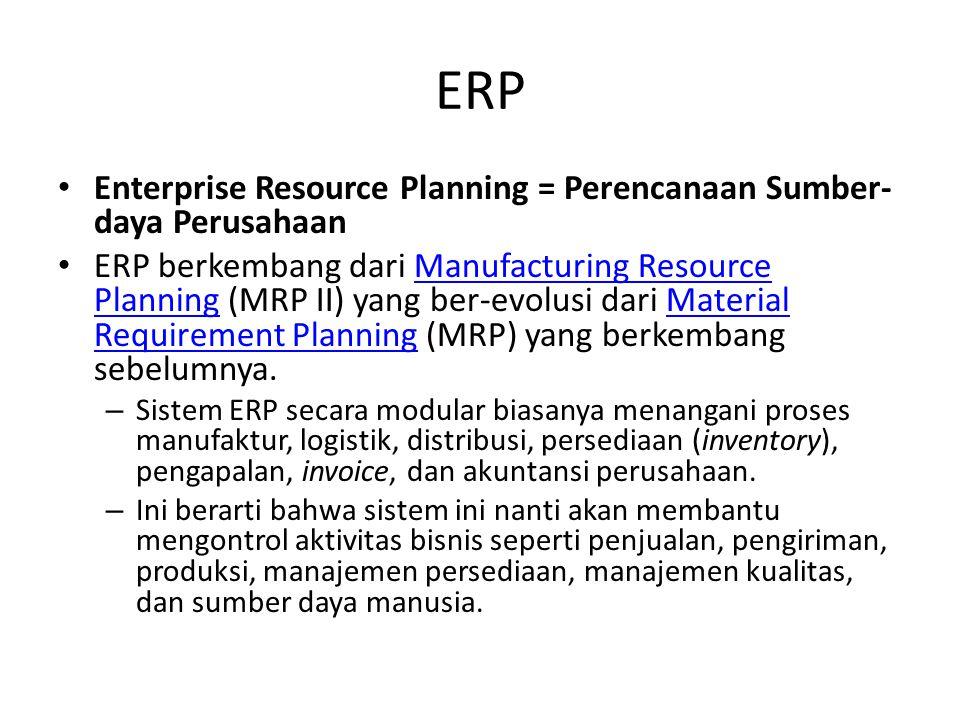 ERP Enterprise Resource Planning = Perencanaan Sumber-daya Perusahaan
