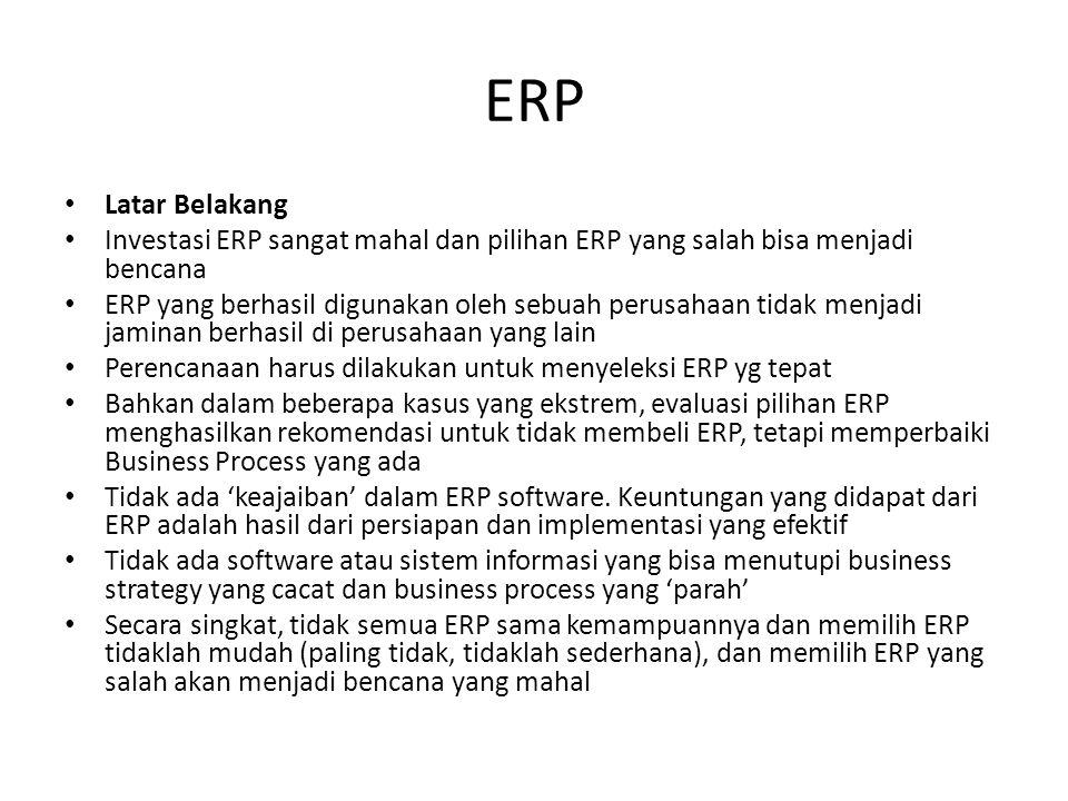 ERP Latar Belakang. Investasi ERP sangat mahal dan pilihan ERP yang salah bisa menjadi bencana.
