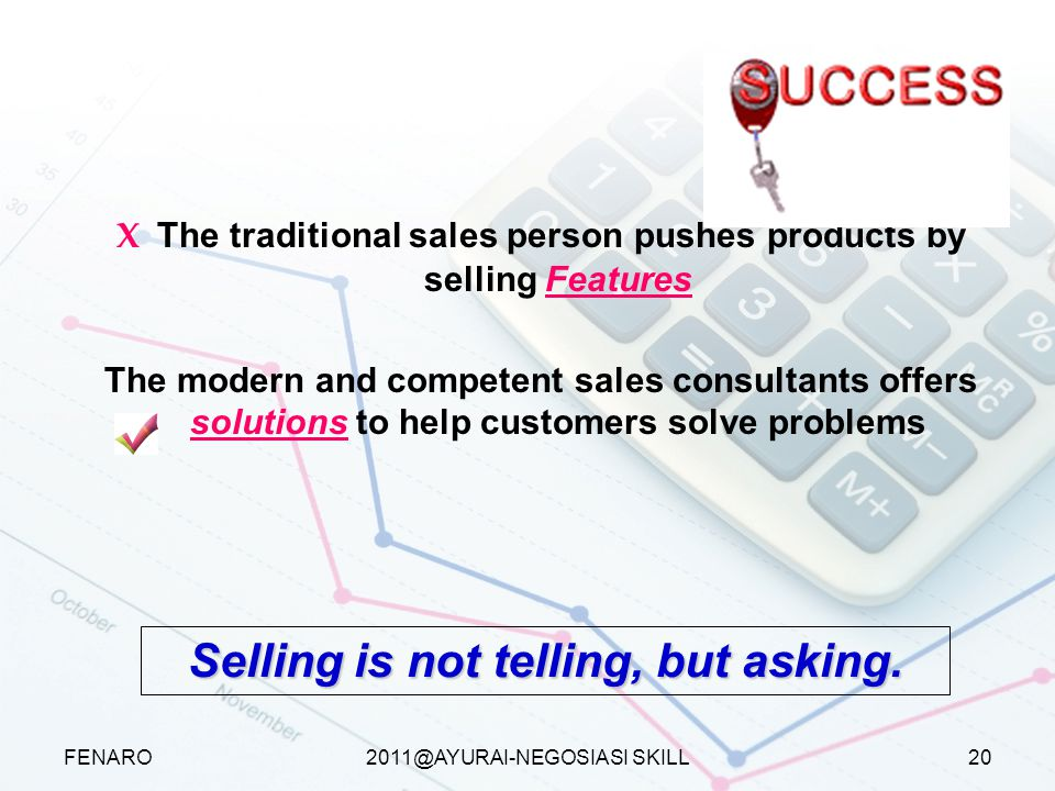 Selling is not telling, but asking.