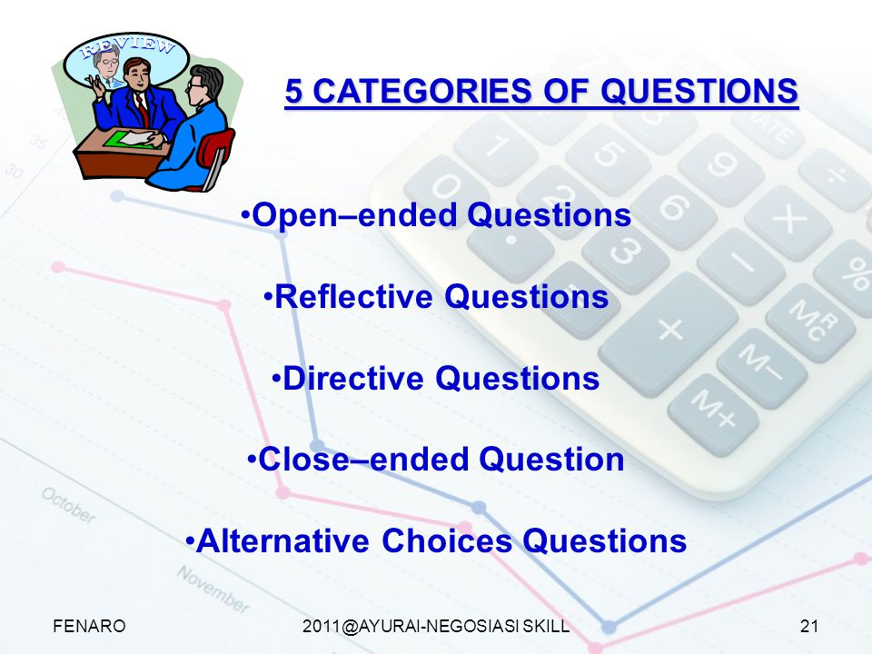 5 CATEGORIES OF QUESTIONS Alternative Choices Questions