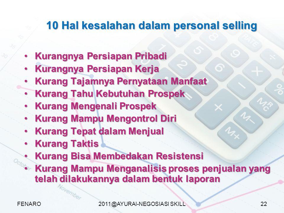 10 Hal kesalahan dalam personal selling