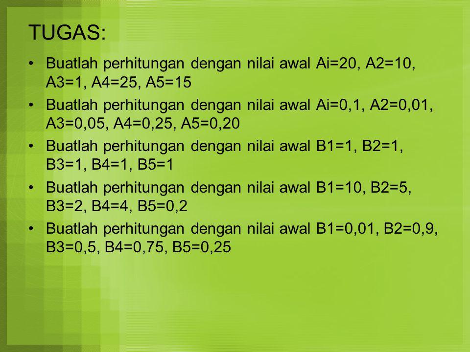 TUGAS: Buatlah perhitungan dengan nilai awal Ai=20, A2=10, A3=1, A4=25, A5=15.