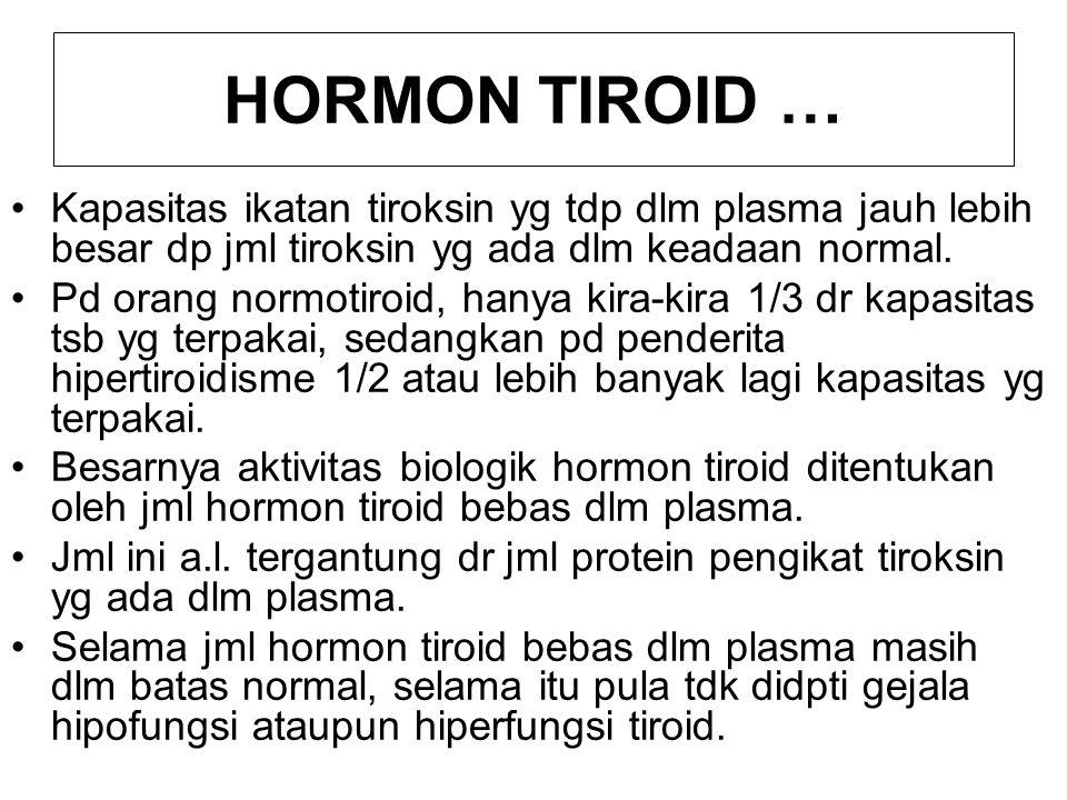 HORMON TIROID … Kapasitas ikatan tiroksin yg tdp dlm plasma jauh lebih besar dp jml tiroksin yg ada dlm keadaan normal.