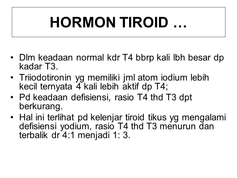 HORMON TIROID … Dlm keadaan normal kdr T4 bbrp kali lbh besar dp kadar T3.