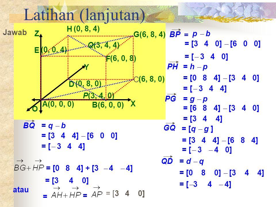 Latihan (lanjutan) G(6, 8, 4) X Y Z O A(0, 0, 0) B(6, 0, 0) (6, 8, 0)