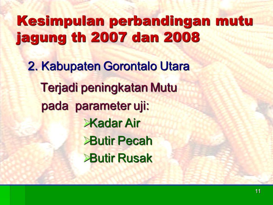 Kesimpulan perbandingan mutu jagung th 2007 dan 2008