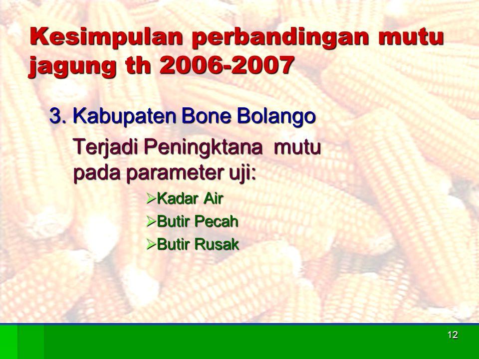 Kesimpulan perbandingan mutu jagung th 2006-2007