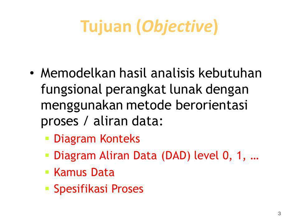 Tujuan (Objective) Memodelkan hasil analisis kebutuhan fungsional perangkat lunak dengan menggunakan metode berorientasi proses / aliran data: