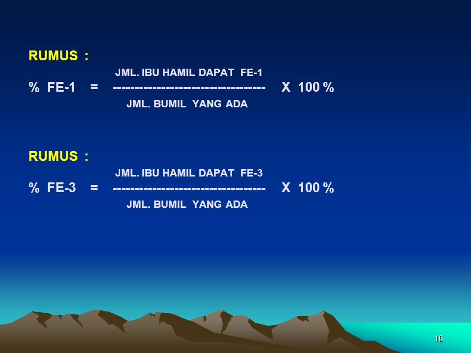 Rumus : JML. IBU HAMIL DAPAT FE-1. % FE-1 = ----------------------------------- x 100 %
