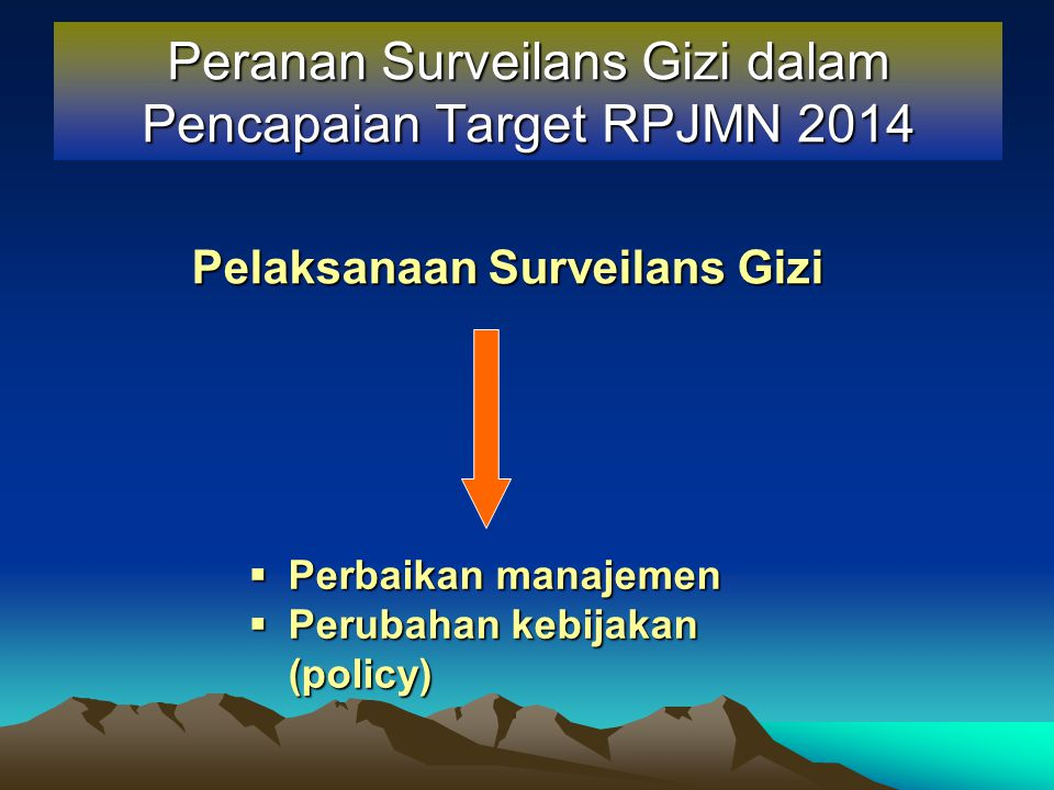 Peranan Surveilans Gizi dalam Pencapaian Target RPJMN 2014