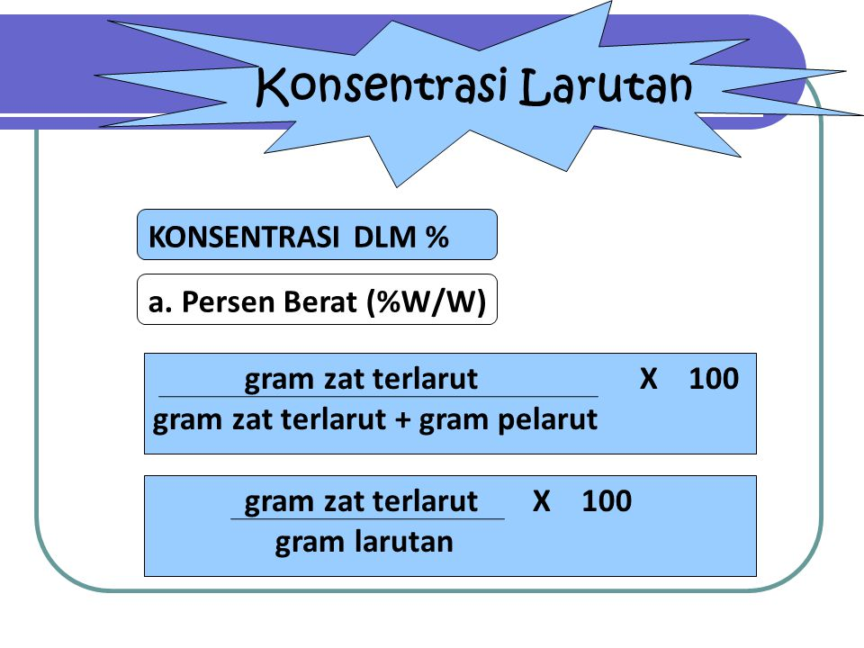 Konsentrasi Larutan KONSENTRASI DLM % a. Persen Berat (%W/W)
