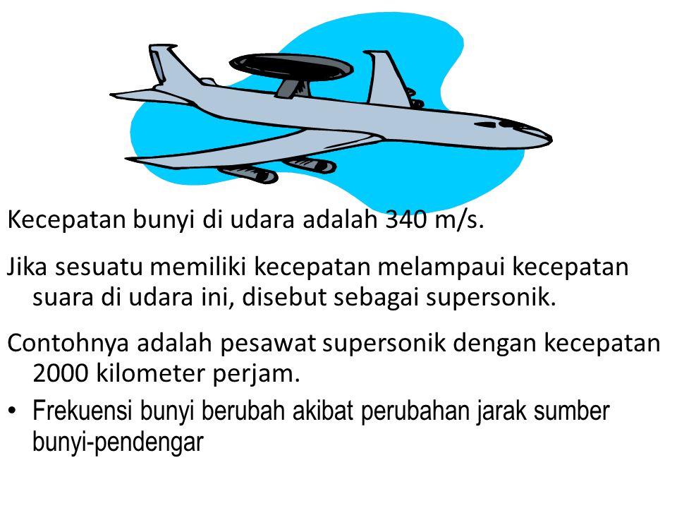 Kecepatan bunyi di udara adalah 340 m/s.