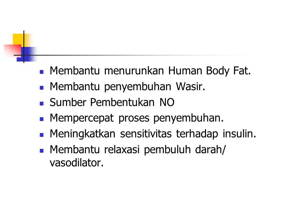 Membantu menurunkan Human Body Fat.