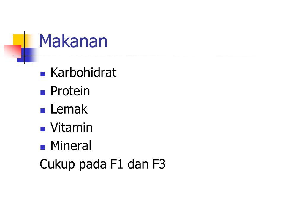 Makanan Karbohidrat Protein Lemak Vitamin Mineral Cukup pada F1 dan F3