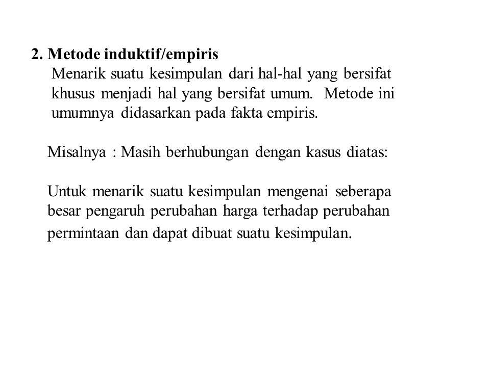 2. Metode induktif/empiris