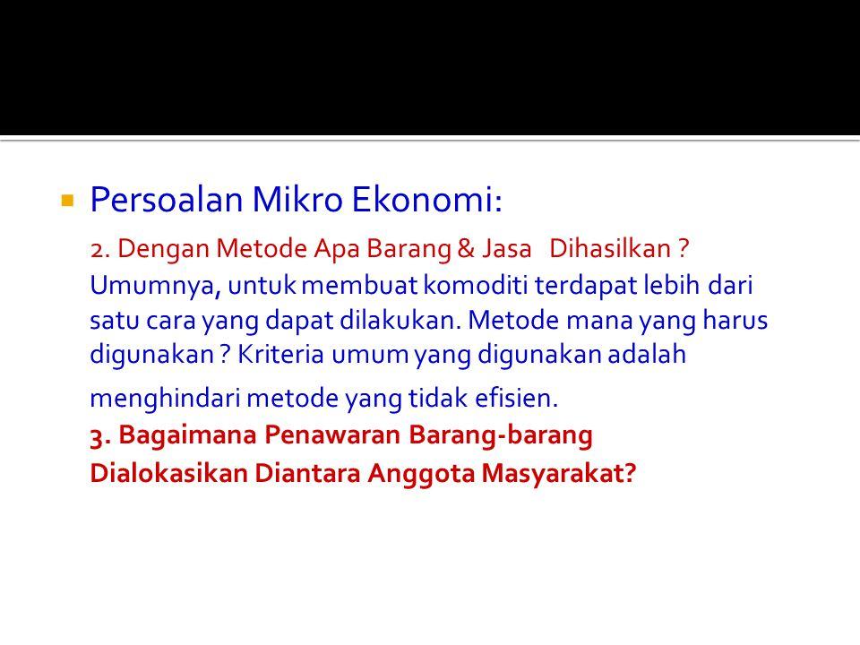 Persoalan Mikro Ekonomi: