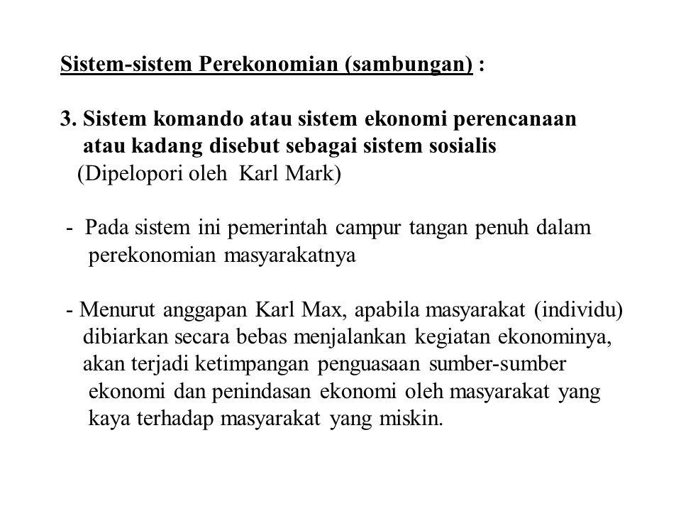 Sistem-sistem Perekonomian (sambungan) :