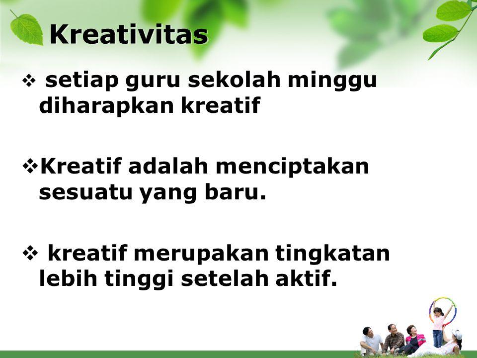 Kreativitas Kreatif adalah menciptakan sesuatu yang baru.