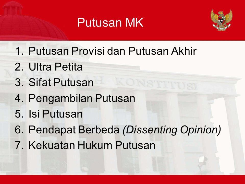 Putusan MK Putusan Provisi dan Putusan Akhir Ultra Petita