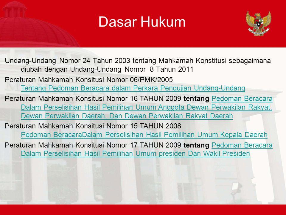 Dasar Hukum Undang-Undang Nomor 24 Tahun 2003 tentang Mahkamah Konstitusi sebagaimana diubah dengan Undang-Undang Nomor 8 Tahun 2011.
