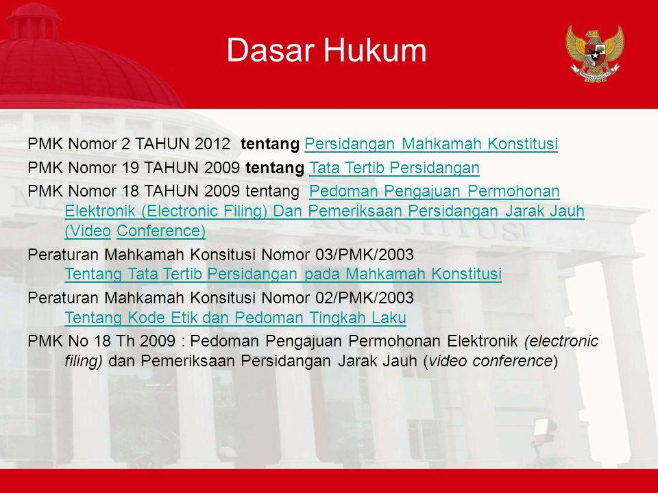 Dasar Hukum PMK Nomor 2 TAHUN 2012 tentang Persidangan Mahkamah Konstitusi. PMK Nomor 19 TAHUN 2009 tentang Tata Tertib Persidangan.
