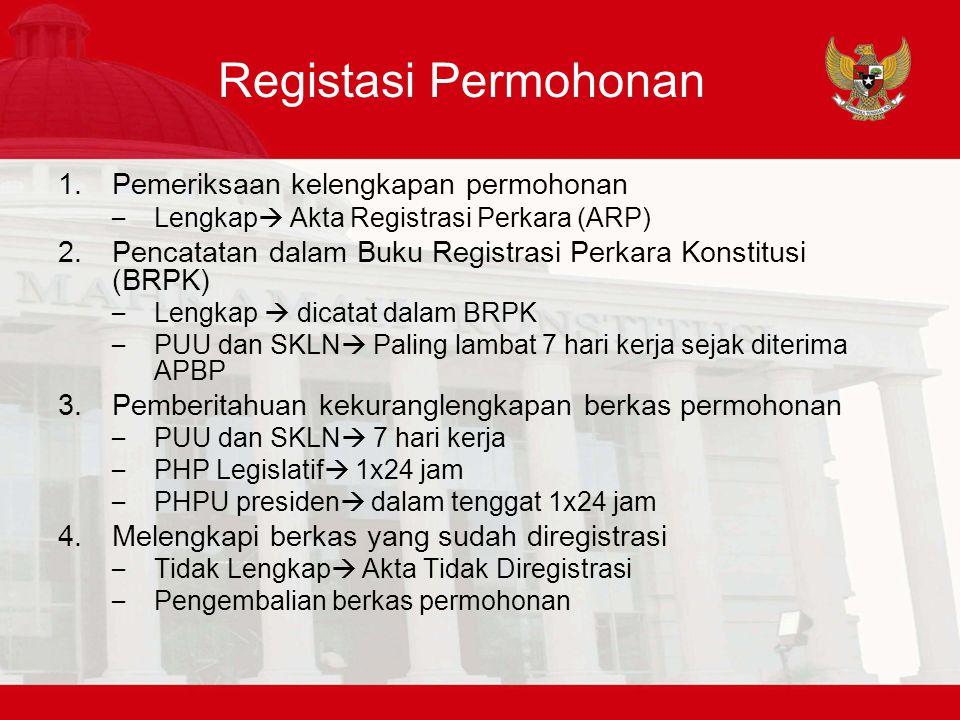 Registasi Permohonan Pemeriksaan kelengkapan permohonan