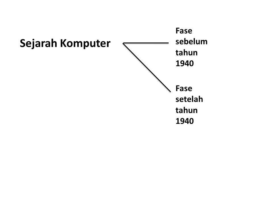 Sejarah Komputer Fase sebelum tahun 1940 Fase setelah tahun 1940