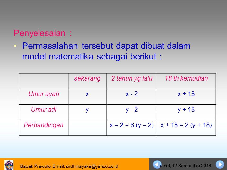 06 April 2017 Penyelesaian : Permasalahan tersebut dapat dibuat dalam model matematika sebagai berikut :