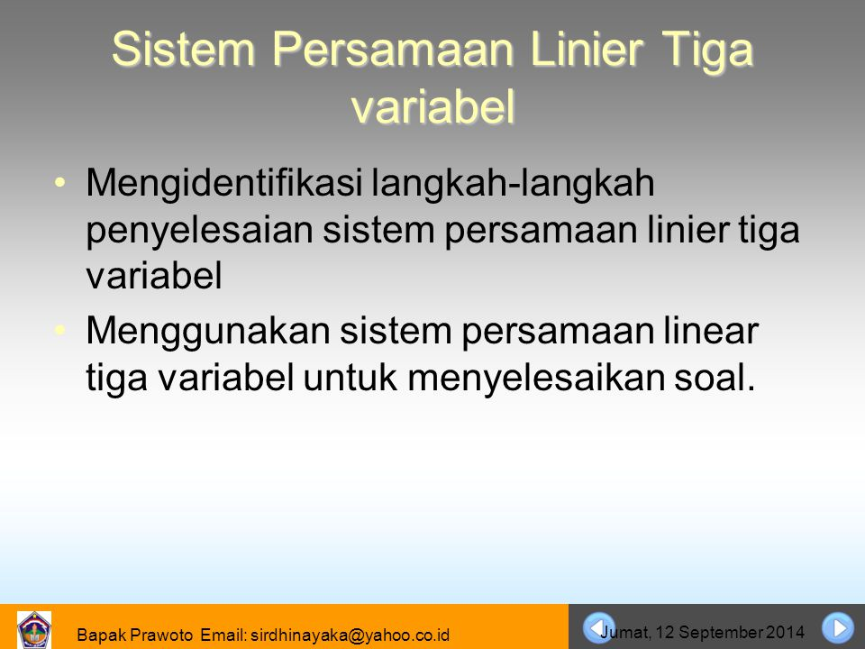 Sistem Persamaan Linier Tiga variabel