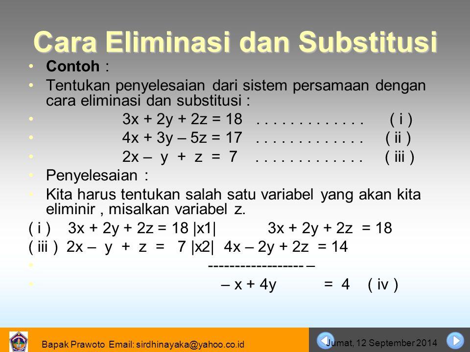 Cara Eliminasi dan Substitusi