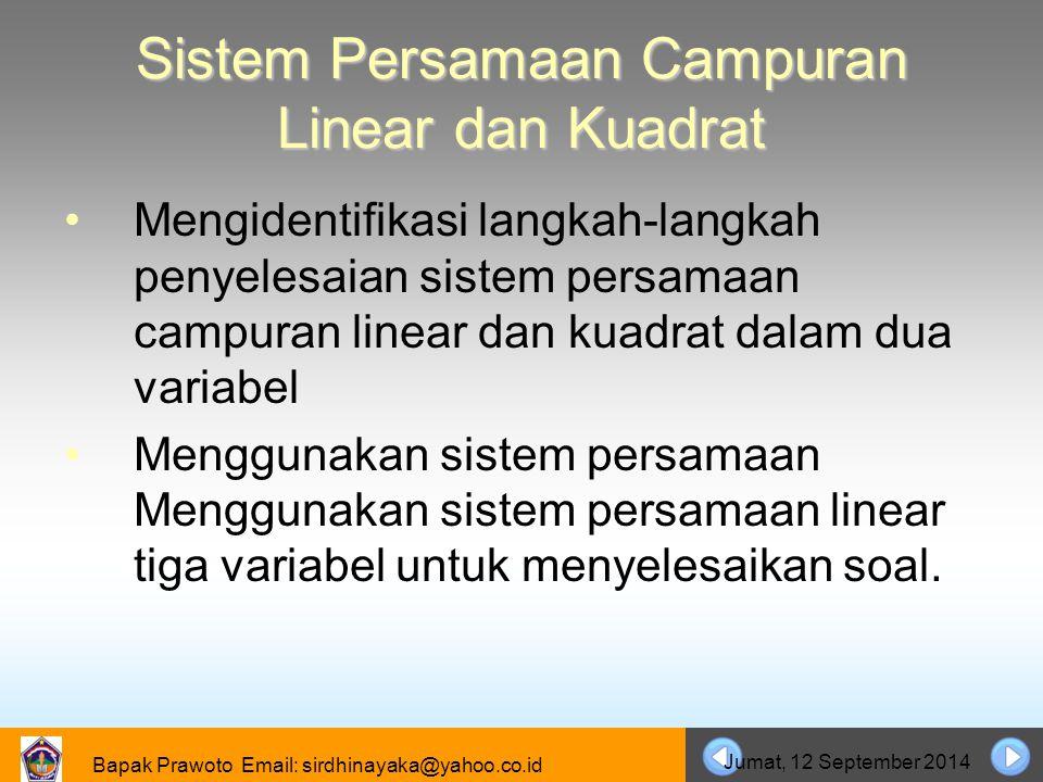 Sistem Persamaan Campuran Linear dan Kuadrat